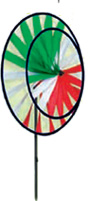 Double Wind Wheel, Green Red, White
