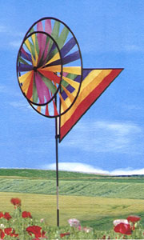 Rainbow double ring Whirlie with Flag